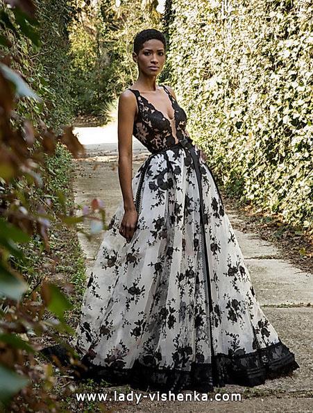 Свадебное платье с черным кружевом и цветами 2016 - Jordi Dalmau