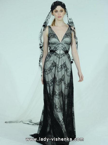 Черно-белое свадебное платье 2016 - Claire Pettibone