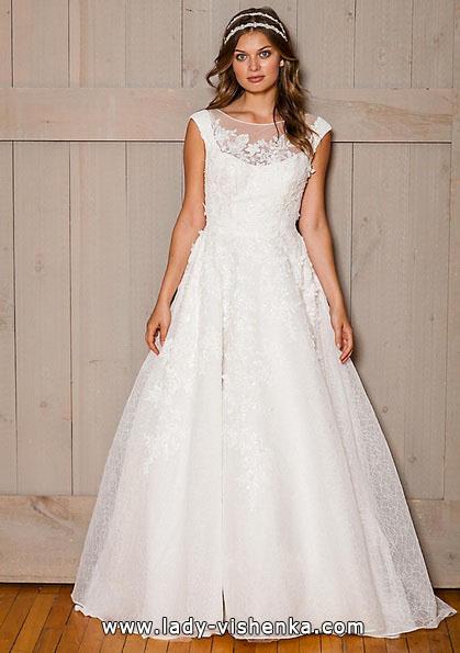 Длинное кружевное свадебное платье 2016 - David's Bridal