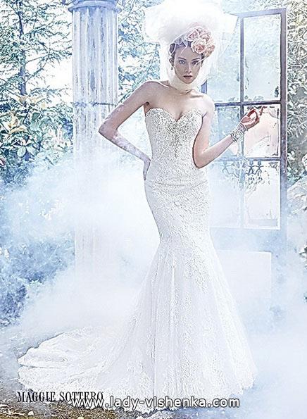 Кружевное свадебное платье рыбка со шлейфом - Maggie Sottero