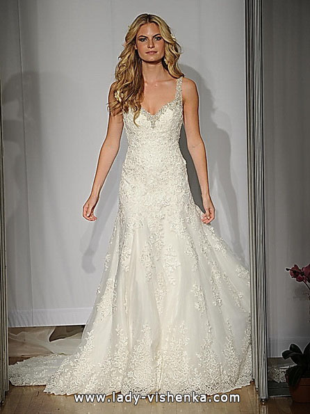 Кружевное свадебное платье русалочка со шлейфом - Mori Lee