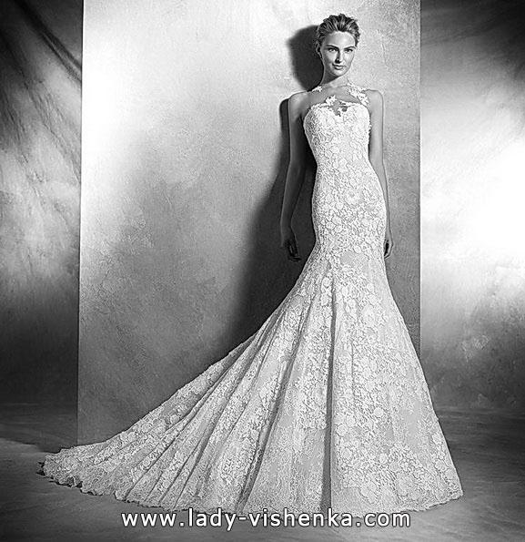 Кружевное свадебное платье русалочка со шлейфом 2016