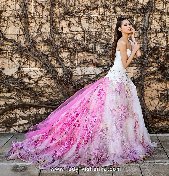 Розовое свадебное платье 2016 - Jordi Dalmau