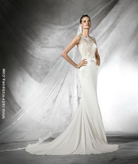 Свадебное платье рыбка с кружевом Pronovias