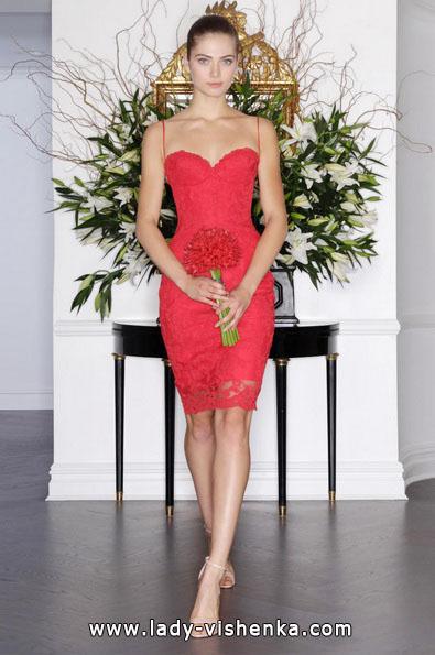 Короткое красное свадебное платье 2016 - Romona Keveza