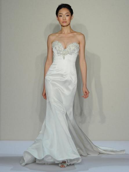 Атласное свадебное платье - русалочка - Dennis Basso