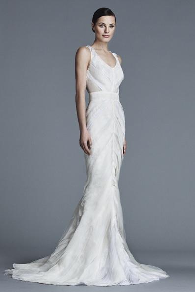 Атласное свадебное платье - рыбий хвост - J Mendel