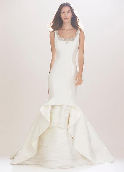 Атласное свадебное платье - рыбий хвост - Carolina Herrera