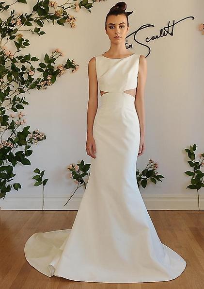 Атласное свадебное платье со шлейфом Austin Scarlet 2016