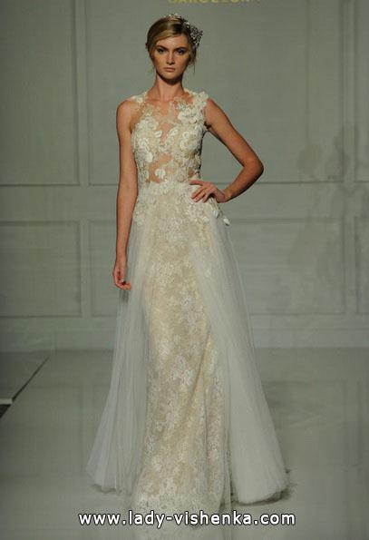 Прямое свадебное платье с кружевом 2016 - Pronovias