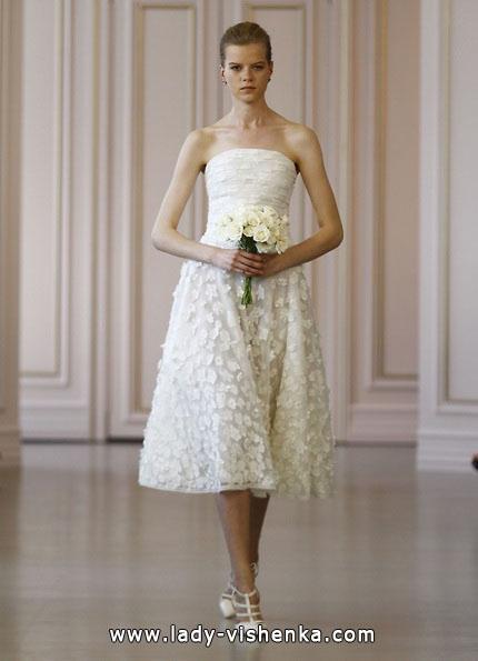 Свадебное платье короткое кружевное 2016 - Oscar de la Renta