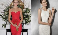 Свадебное платье короткое кружевное - 30 фото