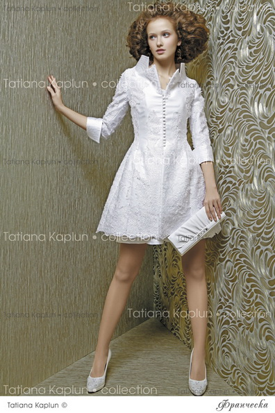 Короткое пышное свадебное платье с рукавами 2016 - Tatiana Kaplun