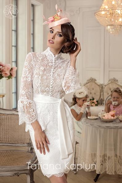 Короткие свадебные платья с кружевными рукавами - Tatiana Kaplun