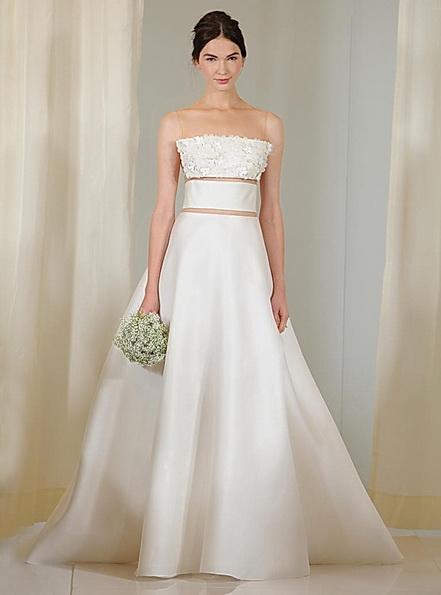 Свадебное платье с атласной юбкой Angel Sanchez 2016