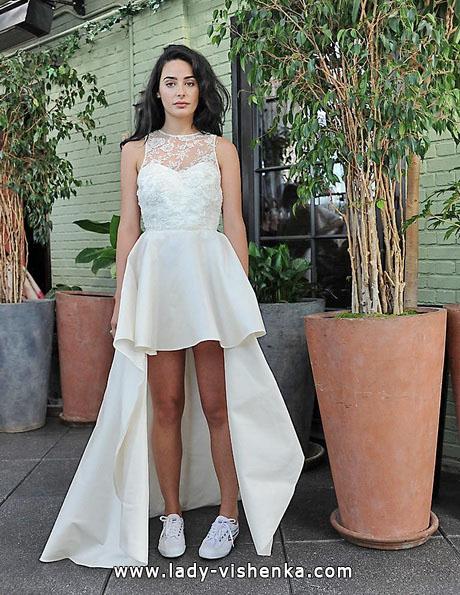 Простое свадебное платье короткое спереди 2016 - Sarah Seven