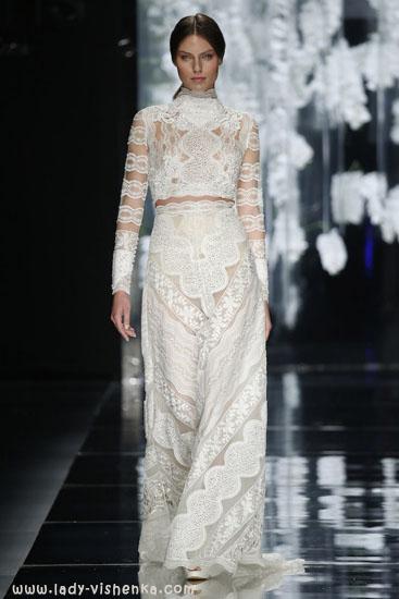 Кружевное свадебное платье с рукавами YolanCris