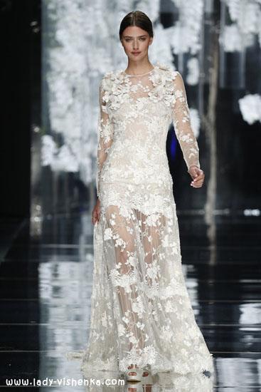 Свадебное платье с рукавами из кружева 2016 YolanCris