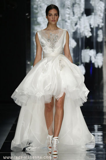 Короткое свадебное платье со шлейфом YolanCris