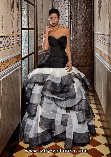 Черно-белое свадебное платье - Jordi Dalmau