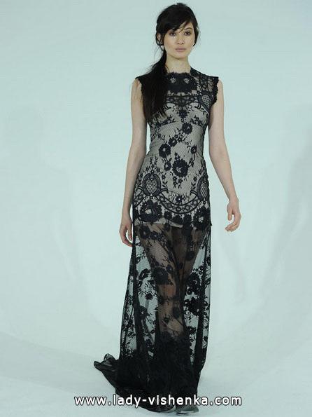 Свадебное платье с черным кружевом 2016 - Claire Pettibone