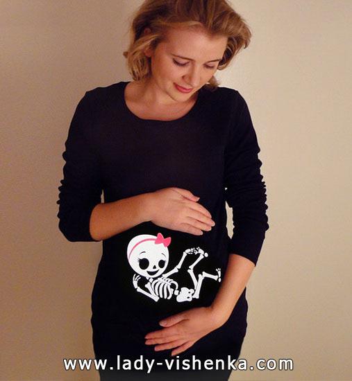 Костюм скелета на Хэллоуин для беременной