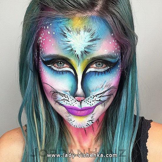 Грим на Хэллоуин - цветная кошка