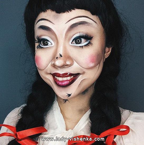 Грим на Хэллоуин - страшная кукла