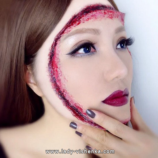 Порезы на лице - грим на Хэллоуин