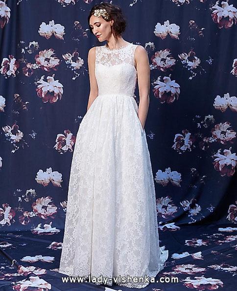 Длинное кружевное свадебное платье 2016 - Ivy & Aster