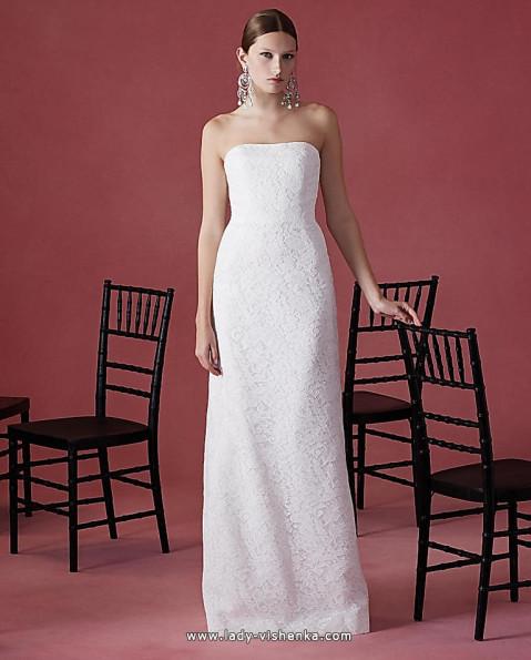 Прямое кружевное свадебное платье - Oscar De La Renta