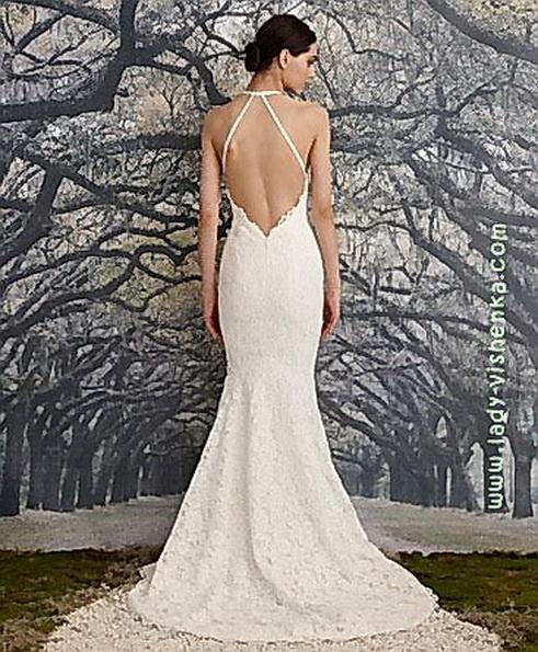 Спина кружевного свадебного платья - рыбка - Nicole Miller