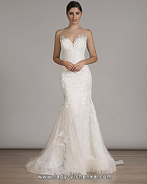 Кружевное свадебное платье русалочка со шлейфом - Liancarlo