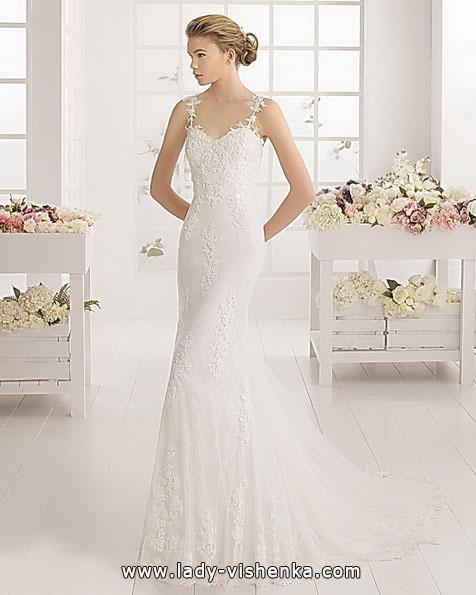 Кружевное свадебное платье рыбка со шлейфом