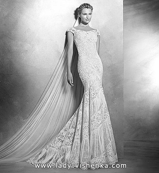 Кружевное свадебное платье рыбий хвост