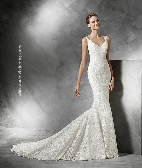 Атласное свадебное платье рыбка Pronovias