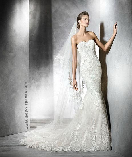 Свадебное платье русалочка со шлейфом Pronovias