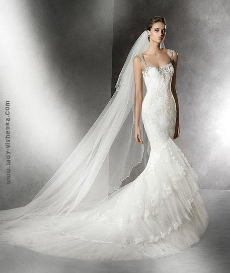 Свадебное платье рыбка с шлейфом Pronovias