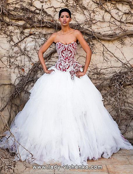 Свадебное платье с красным верхом 2016 - Jordi Dalmau