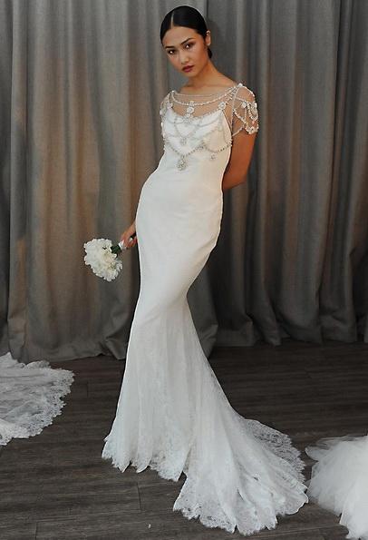 Атласное свадебное платье - русалочка - Badgley Mischka