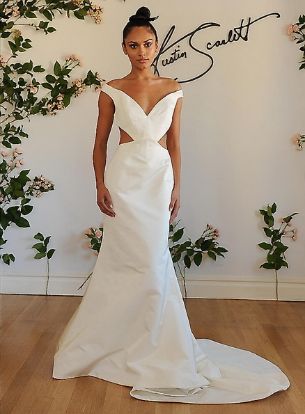 Свадебное платье из атласа со шлейфом Austin Scarlet 2016