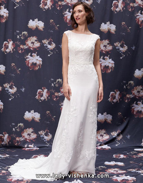Прямое длинное свадебное платье 2016 -