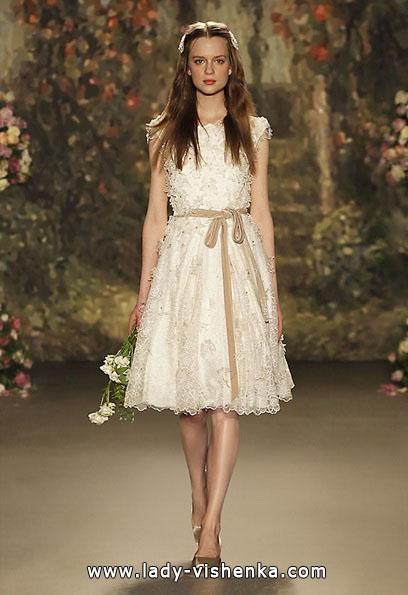 Свадебное платье короткое кружевное Jenny Packham