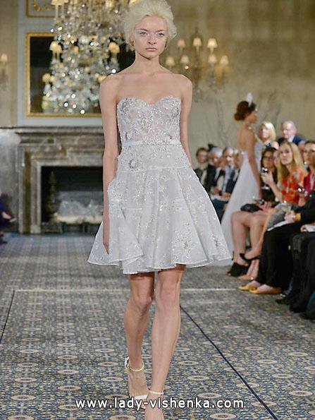 Свадебное платье короткое кружевное 2016 - Mira Zwillinger