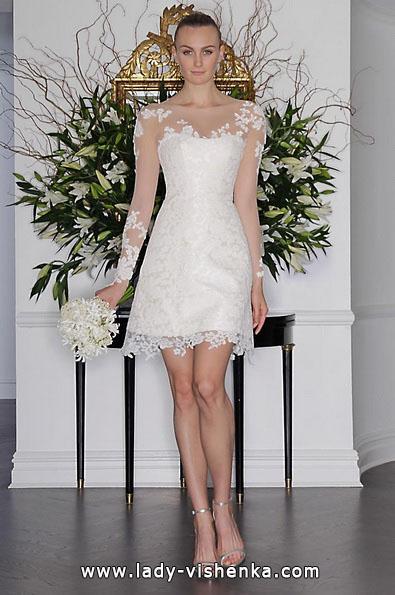 Кружевное короткое свадебное платье с рукавами 2016 - Romona Keveza