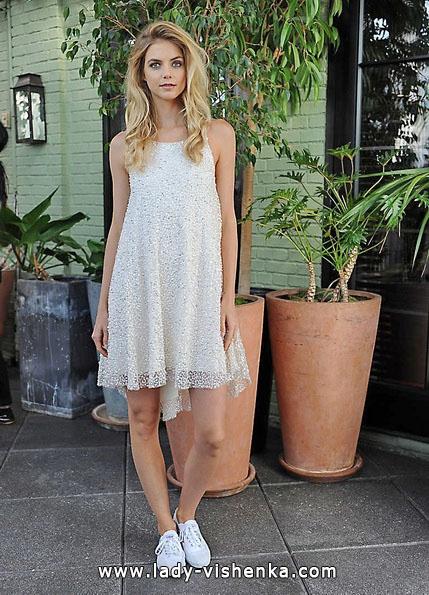 Свадебное платье короткое кружевное 2016 - Sarah Seven