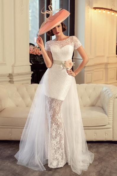 Короткое свадебное платье с коротким рукавом - Tatiana Kaplun