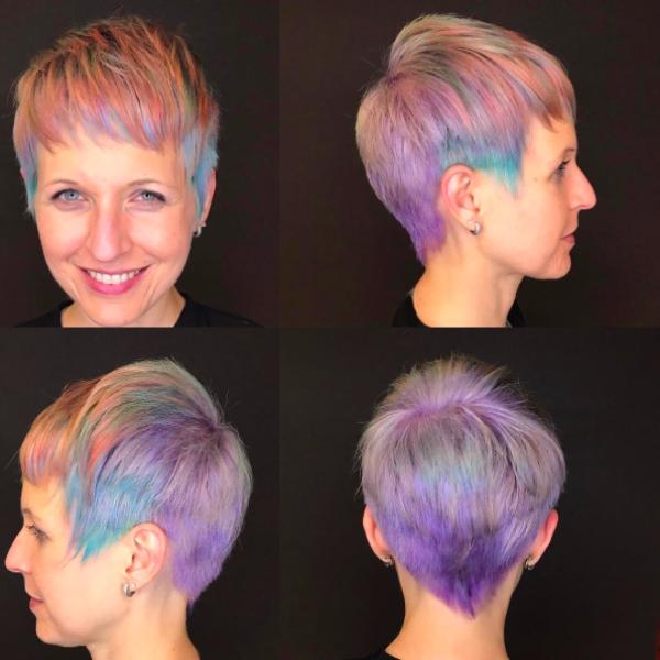 Цветные волосы на короткие волосы