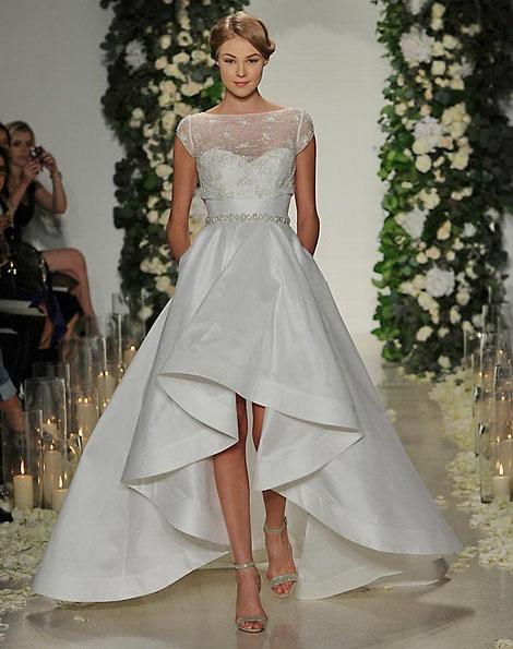 Свадебное платье короткое спереди фото - Anne Barge