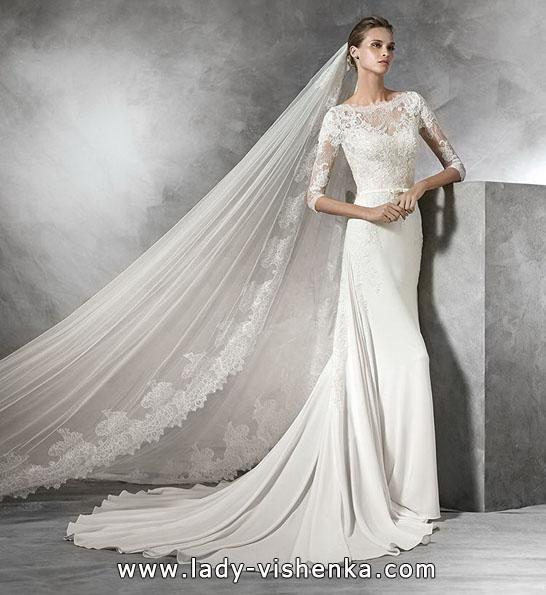 Свадебные платья с кружевными рукавами фото 2016 - Pronovias